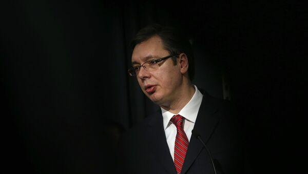 Serbian Prime Minister Aleksandar Vucic speaks during a news conference in Belgrade, Serbia, Saturday, Feb. 20, 2016 - Sputnik France