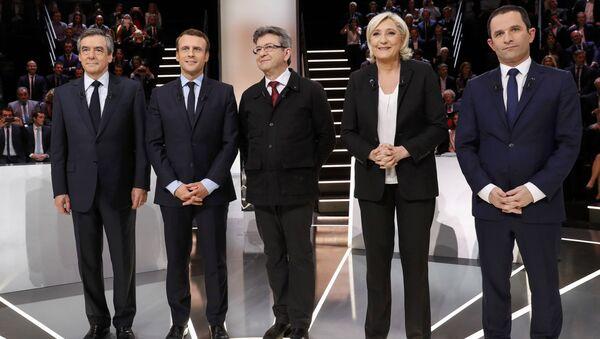 Marine Le Pen, Jean-Luc Mélenchon, Benoît Hamon, Emmanuel Macron et François Fillon - Sputnik France