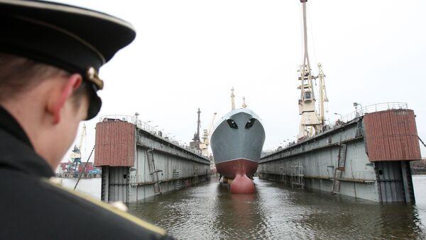 Спуск на воду головного фрегата ВМФ РФ Адмирал флота Сергей Горшков - Sputnik France
