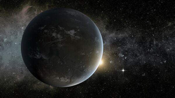 Le concept d'artiste de l'une des deux planètes terrestres potentiellement habitables, Kepler-62f - Sputnik France