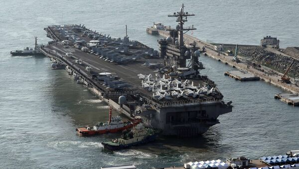 U.S. aircraft carrier USS Carl Vinson arrives for an annual joint military exercise called Foal Eagle between South Korea and U.S, at the port of Busan, South Korea, March 15, 2017. - Sputnik France