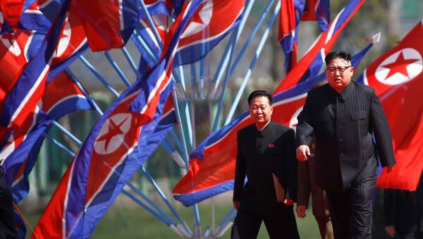 North Korean leader Kim Jong Un arrives for an opening ceremony of a newly constructed residential complex in Ryomyong street in Pyongyang, North Korea April 13, 2017 - Sputnik France