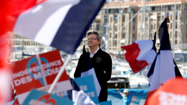 Jean-Luc Melenchon of the French far left Parti de Gauche and candidate for the 2017 French presidential election delivers a speech during a political rally in Marseille, France, April 9, 2017. - Sputnik France