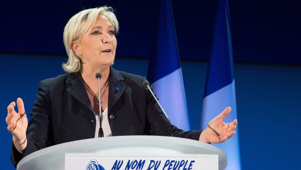 Marine Le Pen, French presidential candidate and leader of the political party the National Front, during a news conference following the first round of the presidential election. - Sputnik France