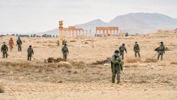 Саперы Международного противоминного центра Вооруженных сил РФ разминируют историческую часть древней Пальмиры. - Sputnik France