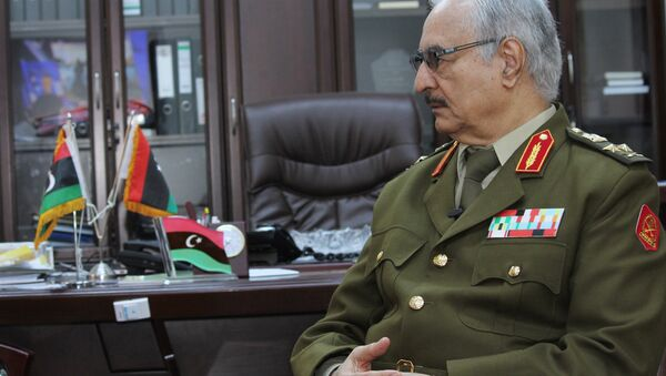 In this March 18, 2015 file photo, Gen. Khalifa Haftar speaks during an interview with The Associated Press in al-Marj, Libya.  - Sputnik France