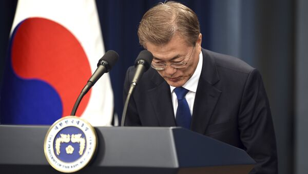 South Korea's new President Moon Jae-In speaks during a press conference at the presidential Blue House in Seoul Wednesday, May 10, 2017. - Sputnik France