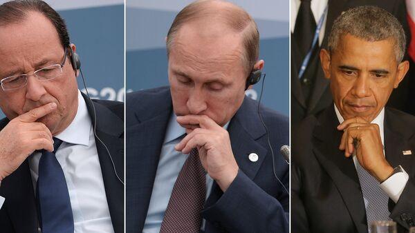 François Hollande, Vladimir Poutine et Barack Obama - Sputnik France