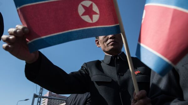 The man holds flag of the Democratic People's Republic of Koreain in Pyongyang. (File) - Sputnik France