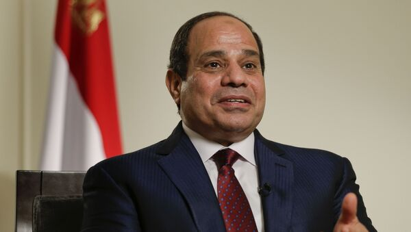 Egyptian President Abdel Fattah el-Sisi answers questions during an interview, Saturday, Sept. 26, 2015, in New York - Sputnik France
