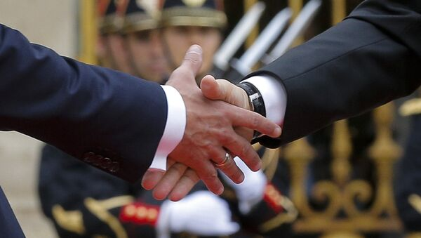 French President Emmanuel Macron (L) shakes hands with Russian President Vladimir Putin during a meeting at the Chateau de Versailles near Paris, France, May 29, 2017. - Sputnik France