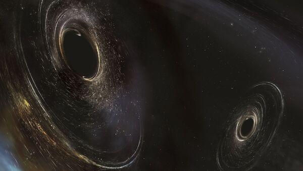 Художественное представление черных дыр, находящихся в 3 миллиардах световых лет от Земли - Sputnik France