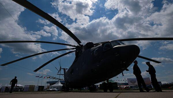 Un helicóptero Mi-26 en el Salón Aeroespacial Internacional MAKS 2017 - Sputnik France