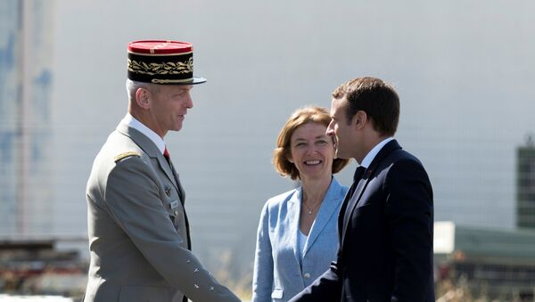French President Emmanuel Macron greets newly-named Chief of the Defence Staff French Army General Francois Lecointre near French Defence Minister Florence Parly during a visit at the military base in Istres, southern France, July 20, 2017. - Sputnik France
