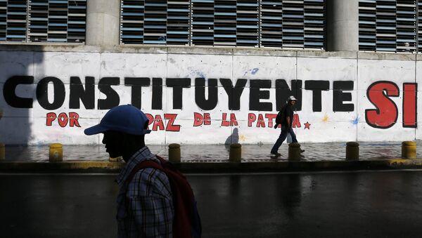 Un graffiti en Caracas en apoyo a las elecciones de la Asamblea Constituyente - Sputnik France