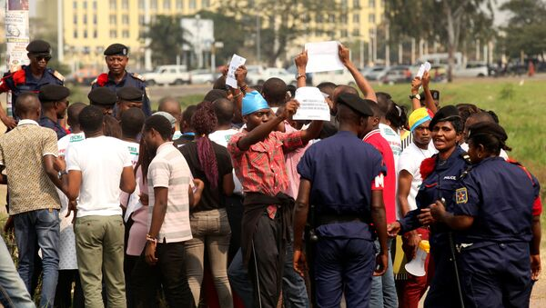 Congolese police detain protestors demanding that President Joseph Kabila leave power by the end of the year in Kinshasa, Democratic Republic of Congo, July 31, 2017. Picture taken July 31, 2017. - Sputnik France