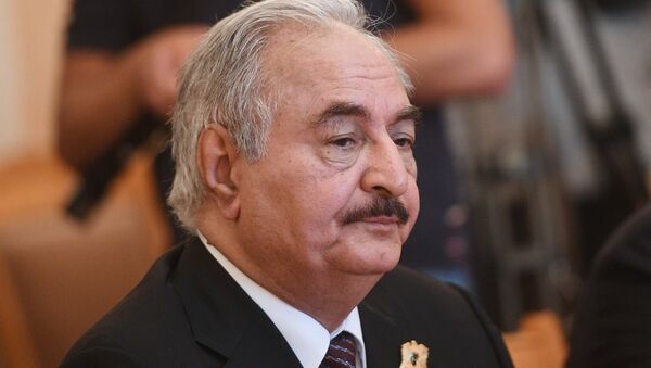 Libyan National Army Commander Khalifa Haftar during a meeting with Russian Foreign Minister Sergei Lavrov - Sputnik France