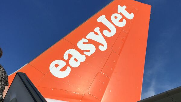 An Airbus in British airline EasyJet livery is pictured on July 3, 2015 on the tarmac at the Lille-Lesquin airport, northern France. - Sputnik France