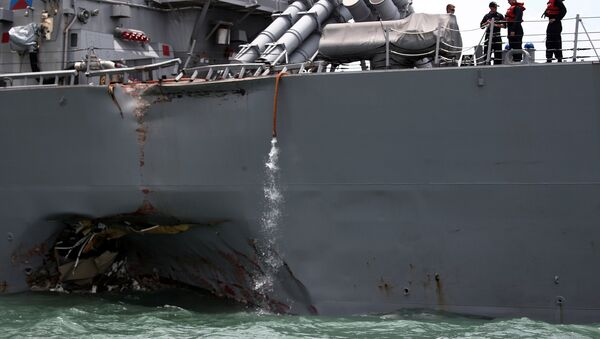The U.S. Navy guided-missile destroyer USS John S. McCain is seen after a collision, in Singapore waters August 21, 2017. - Sputnik France