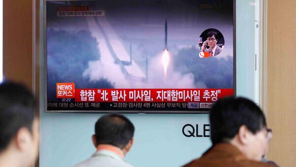 Der Raketenstart im südkoreanischen Fernsehen, 8. Juni, 2017 - Sputnik France