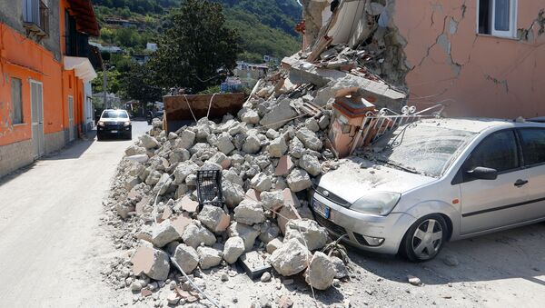 A damaged house is seen after an earthquake hits the island of Ischia, off the coast of Naples, Italy August 22, 2017. - Sputnik France
