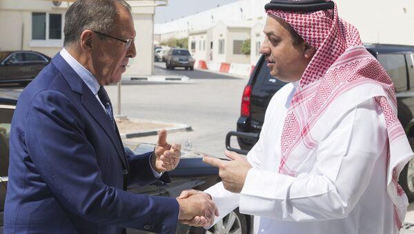 Le ministre russe des Affaires étrangères Sergueï Lavrov et le chef de la diplomatie qatarie Mohammed al-Thani - Sputnik France