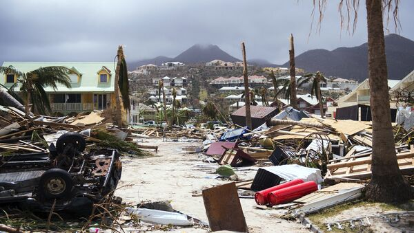 A photo taken on September 7, 2017 shows damage in Orient Bay on the French Carribean island of Saint-Martin, after the passage of Hurricane Irma - Sputnik France