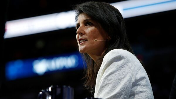 U.S. Ambassador to the United Nations NIkki Haley speaks to the American Israel Public Affairs Committee (AIPAC) policy conference in Washington, U.S., March 27, 2017 - Sputnik France