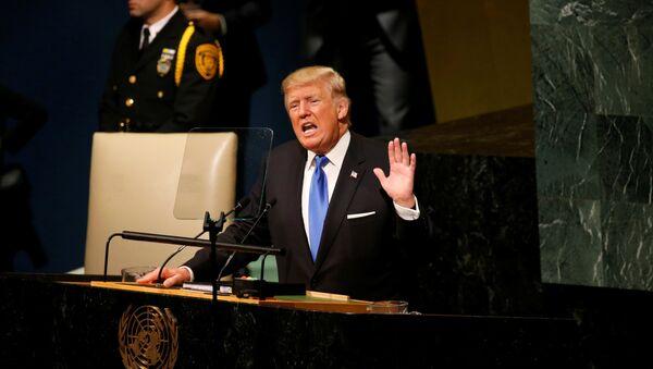 U.S. President Donald Trump delivers his address to the United Nations General Assembly in New York, U.S., September 19, 2017. - Sputnik France