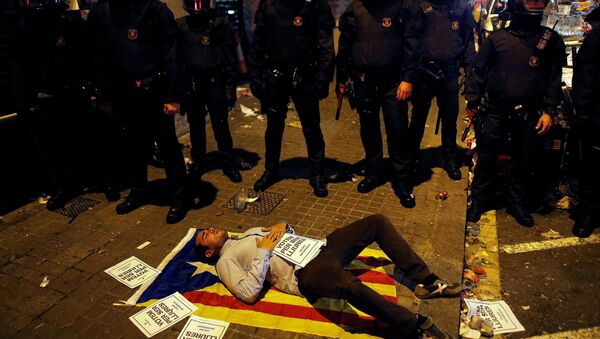 Un manifestant à Catalogne - Sputnik France