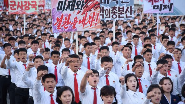 An anti-U.S. rally at Kim Il Sung Square is seen in this September 23, 2017 photo released by North Korea's Korean Central News Agency (KCNA) in Pyongyang on September 24, 2017 - Sputnik France