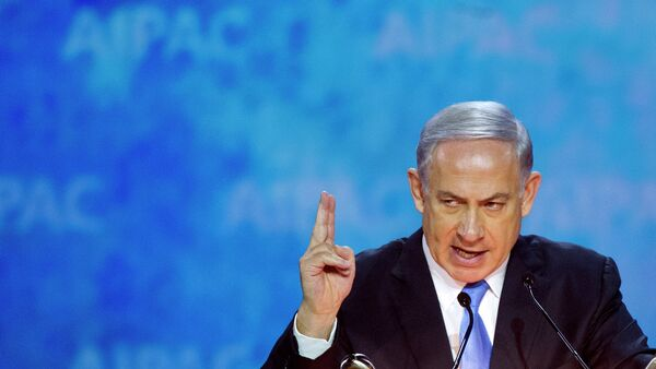 Israeli Prime Minister Benjamin Netanyahu gestures while addressing the 2015 American Israel Public Affairs Committee (AIPAC) Policy Conference in Washington - Sputnik France