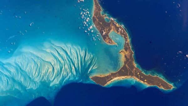 The south end of Eleuthera Island in the Bahamas shimmers in turquoise waters in this 2002 photo from the International Space Station. - Sputnik France