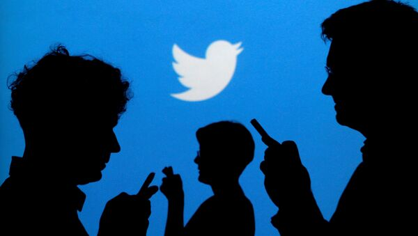 People holding mobile phones are silhouetted against a backdrop projected with the Twitter logo. (File) - Sputnik France