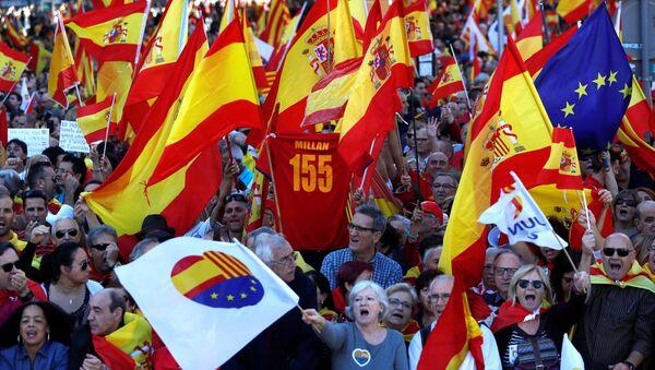 Une manifestation en faveur de l'unité avec l'Espagne à Barcelone - Sputnik France