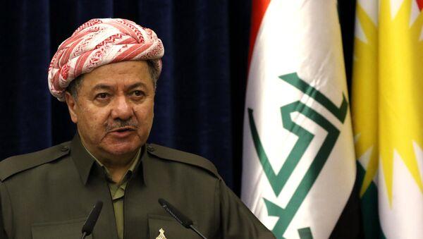 Iraqi Kurdish leader Massud Barzani speaks at a press conference during the visit of the British Foriegn Minister to Arbil, the capital of the Kurdish autonomous region in northern Iraq, on March 17, 2016 - Sputnik France