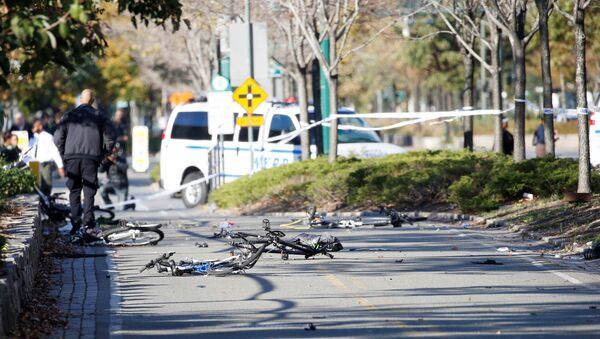 Multiple bikes are crushed along a bike path in lower Manhattan in New York, NY, U.S., October 31, 2017. - Sputnik France