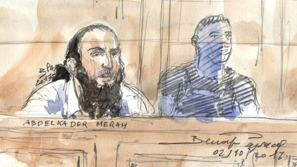 (FILES) This file court sketch made on October 2, 2017 Abdelkader Merah in Paris courthouse during his trial for complicity in the series of shootings commited by his jihadist brother Mohamed in Toulouse and Montauban in 2012. - Sputnik France