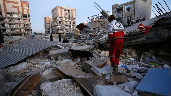 In this photo provided by the Iranian Students News Agency, ISNA, a rescue worker searches debris for survivors with his sniffing dog after an earthquake at the city of Sarpol-e-Zahab in western Iran, Monday, Nov. 13, 2017 - Sputnik France