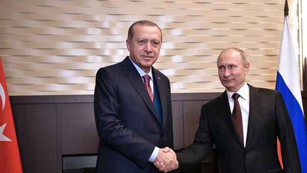 Президент РФ В. Путин встретился с президентом Турции Р. Эрдоганом - Sputnik France
