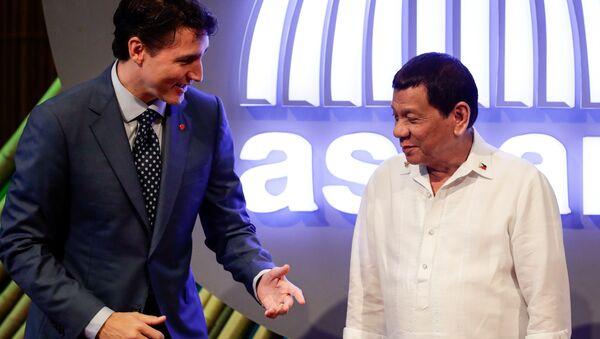 Le Premier ministre canadien Justin Trudeau et le Président philippin Rodrigo Duterte - Sputnik France
