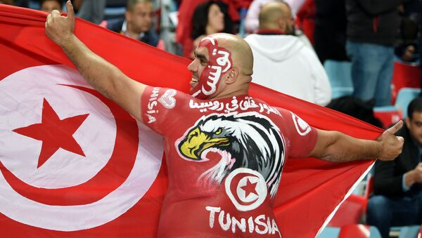 A Tunisian fan cheers for his national team ahead of the FIFA World Cup qualification football match between between Tunisia and Libya at Rades Olympic Stadium on November 11, 2017. - Sputnik France
