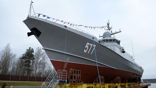 Cérémonie de mise à l'eau de la corvette lance-missiles Taïfoun du projet 22800 à Saint-Pétersbourg - Sputnik France