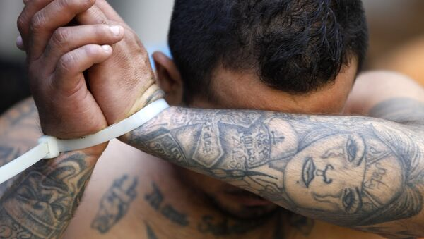 An alleged member of the Mara Salvatrucha gang covers his face after being detained during a police raid in San Salvador, El Salvador, Friday, Jan. 31, 2014. - Sputnik France