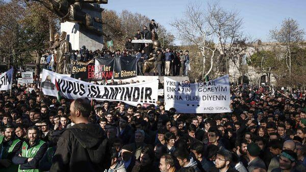 Акция протеста в Турции против решения Трампа о признании Иерусалима столицей Израиля, 8 декабря 2017 - Sputnik France