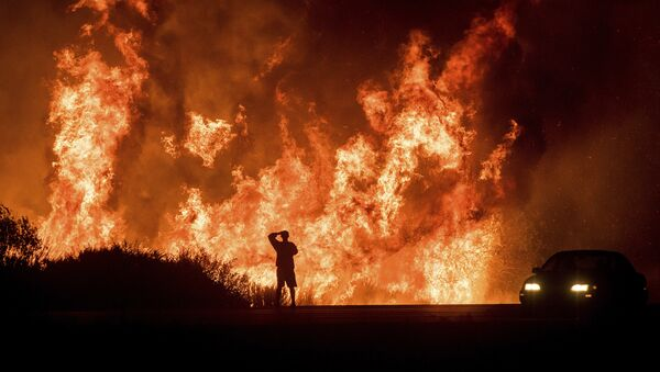 A motorists on Highway 101 watches flames from the Thomas fire leap above the roadway north of Ventura, Calif., on Wednesday, Dec. 6, 2017. - Sputnik France