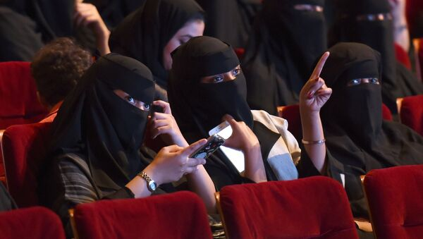 This file photo taken on October 20, 2017 shows Saudi women attending the Short Film Competition 2 festival at King Fahad Culture Center in Riyadh. - Sputnik France