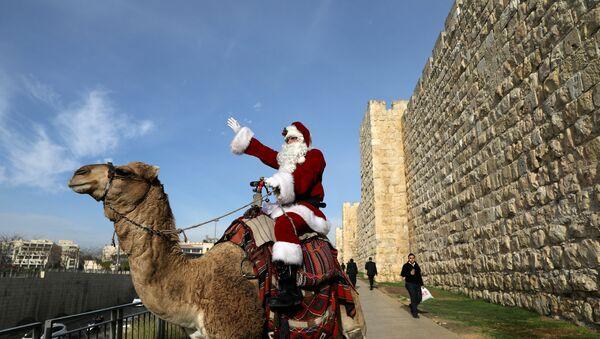 Israeli-Arab Issa Kassissieh rides a camel wearing a Santa Claus costume during the annual Christmas tree distribution by the Jerusalem municipality in Jerusalem's Old City - Sputnik France