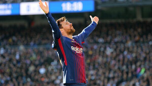 Soccer Football - La Liga Santander - Real Madrid vs FC Barcelona - Santiago Bernabeu, Madrid, Spain - December 23, 2017 Barcelona's Lionel Messi celebrates scoring their second goal - Sputnik France