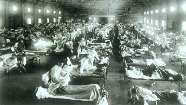 Soldiers from Fort Riley, Kansas, ill with Spanish influenza at a hospital ward at Camp Funston - Sputnik France